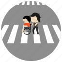 assistance, cross, interactions, social, street, wheelchair icon