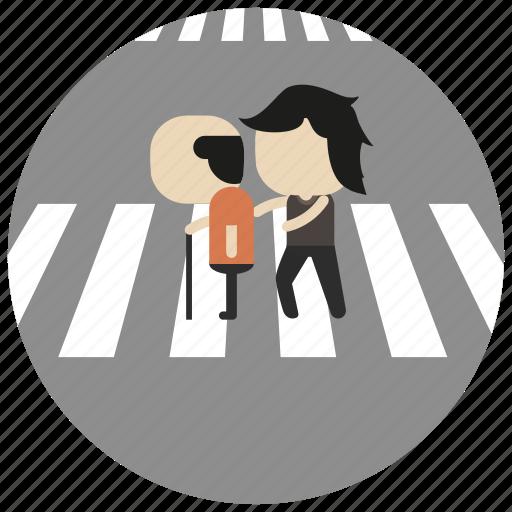 assistance, cross, elderly, interactions, social, street, walk icon