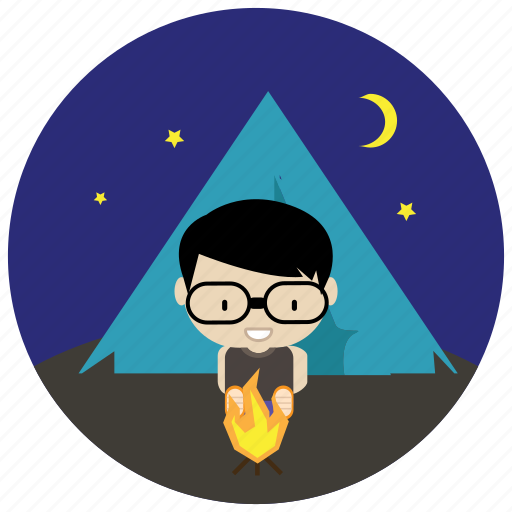 camping, fire, interactions, moon, social, stars, tent icon