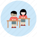 class, desks, interactions, social, students icon