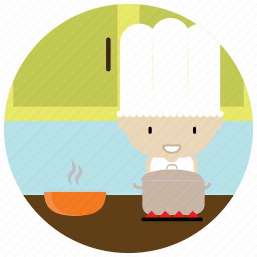 chef, class, cooking, hat, interactions, pot, social icon