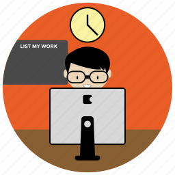 clock, computer, list, online, work icon