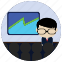 business, chart, glasses, interactions, presentation, social icon