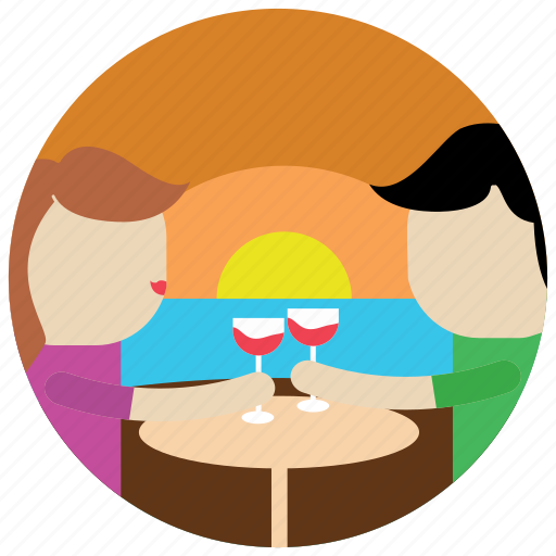 dinner, interactions, sea, side, social, sunset, wine icon
