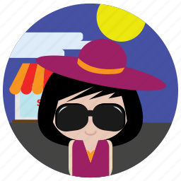 glasses, hat, interactions, shopping, social, sun icon