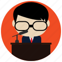 business, glasses, interactions, microphone, social, speech icon