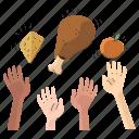 hand, gestures, hunger, food, chicken, cheese, orange