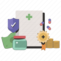 healthcare, insurance, medical, medal, protection, document, medication
