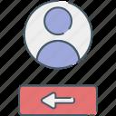 exit, internet, media, network, social, web icon