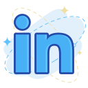 media, in, linked, social icon