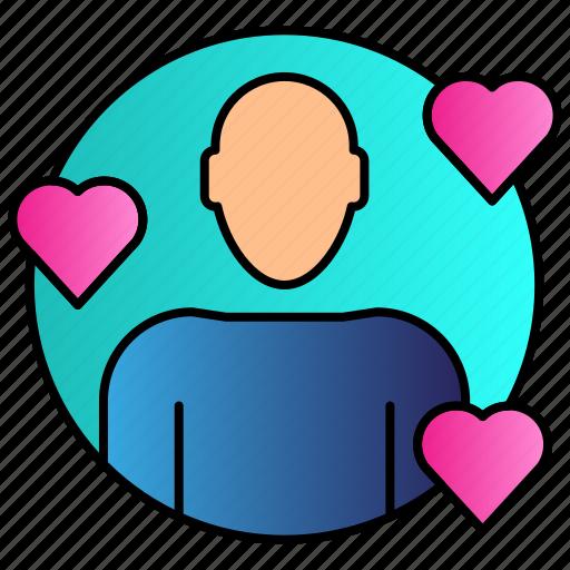 fan, heart, love, people icon