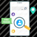 find your friend, search friend, search user, social media search, find friend icon