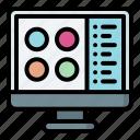 button, screen, computer