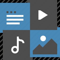 document, file, image, media, multimedia, music, video icon