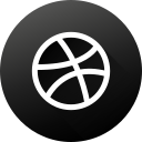 black white, circle, dribbble, high quality, long shadow, social, social media icon