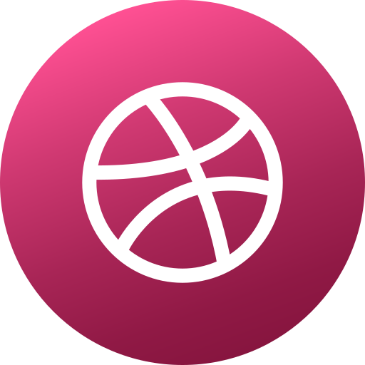 circle, colored, dribbble, gradient, media, social, social media icon