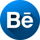behance, circle, high quality, long shadow, media, social, social media icon