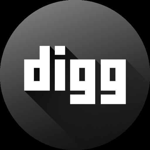 circle, digg, high quality, long shadow, media, social, social media icon