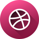 circle, dribbble, high quality, long shadow, media, social, social media icon