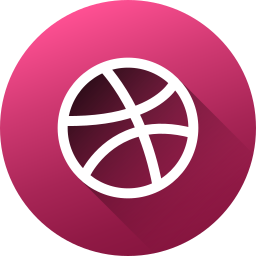 circle, dribbble, high quality, long shadow, media, social, social media icon