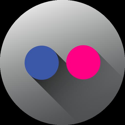 circle, flickr, high quality, long shadow, media, social, social media icon