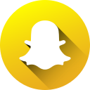 circle, high quality, long shadow, media, snapchat, social, social media icon