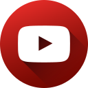circle, high quality, long shadow, media, social, social media, youtube icon