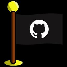 flag, github, media, networking, social icon