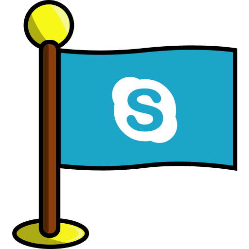 flag, media, networking, skype, social icon