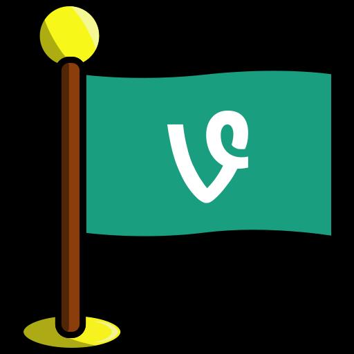 flag, media, networking, social, vine icon
