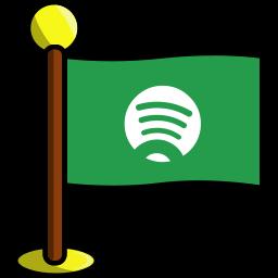 flag, media, networking, social, spotify icon
