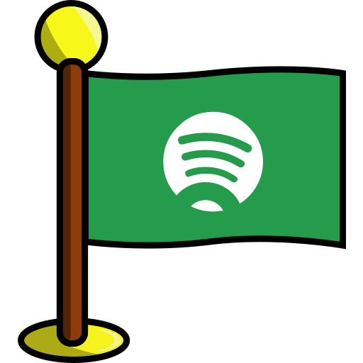 flag, media, networking, social, spotify icon