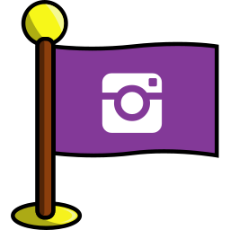 flag, instagram, media, networking, photos, social icon