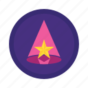 famous, hat, party hat, pointed hat, star icon