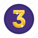 number, rank, third, three icon