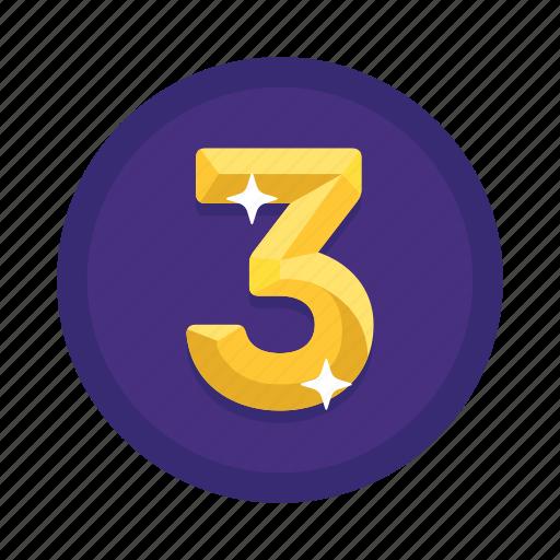 number, rank, third, three icon