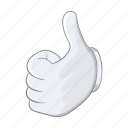 cartoon, good, hand, ok, sign, thumbs, up icon