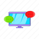 cartoon, computer, display, messages, sign, technology icon