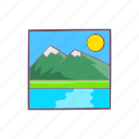 cartoon, drawing, landscape, mountain, nature, outdoor, sign icon
