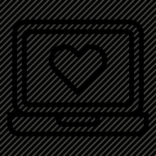 heart, laptop, like, media, social icon