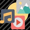 multimedia, audio, content, music, photo, sharing, video