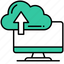 cloud, computer, upload, file, storage, data, arrow