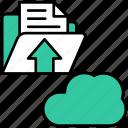 cloud, document, arrow, file, transfer, upload, network