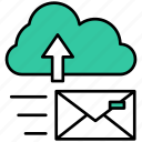 cloud, message, arrow, upload, mail, envelope, storage