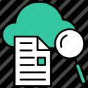 cloud, find, search, document, file, magnifier, explore