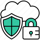 cloud, protection, security, password, lock, shield, data