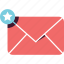 email, envelope, inbox, mail, message, notification, star icon