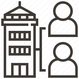 building, people, share, tower icon