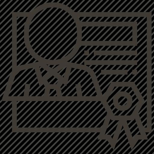 award, document, person, prize, ribbon icon