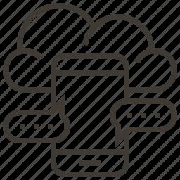 cloud, communication, device, message, mobile icon